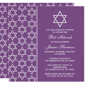 Carte Bat mitzvah juif pourpre et blanc d'étoile de