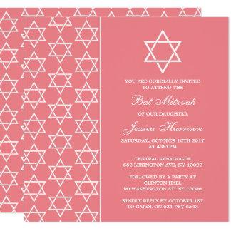 Carte Bat mitzvah juif rose et blanc chic d'étoile de