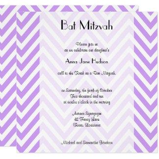 Carte Bat mitzvah - motif de zigzag, Chevron - pourpre