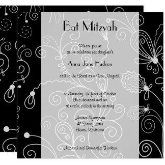 Carte Bat mitzvah - motif tourbillonné, remous - noir