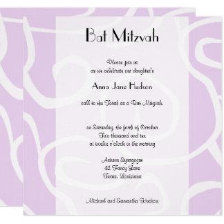 Carte Bat mitzvah - motif tourbillonné, remous - pourpre