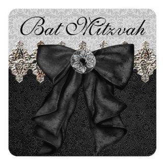Carte Bat mitzvah noir et argenté élégant