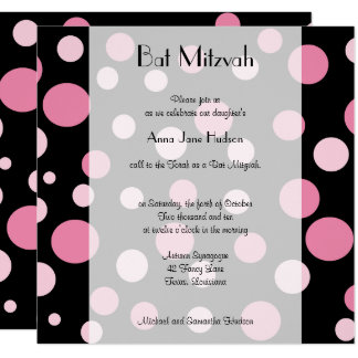 Carte Bat mitzvah - points sans couture, taches - rose