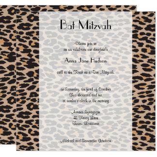 Carte Bat mitzvah - poster de animal, léopard - noir de