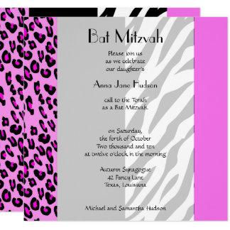 Carte Bat mitzvah - poster de animal, zèbre, léopard -