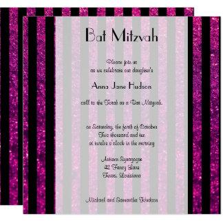Carte Bat mitzvah - rayures, lignes, scintillement -