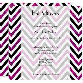 Carte Bat mitzvah - zigzag, Chevron, parties