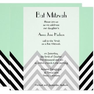 Carte Bat mitzvah - zigzag, Chevron - vert en bon état,