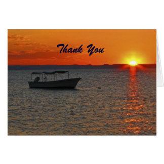 Carte Bateau de pêche de Merci de retraite au coucher du