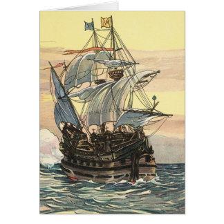 Carte Bateau de pirate vintage, navigation de galion sur