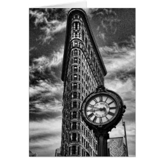 Carte Bâtiment et horloge de Flatiron en noir et blanc