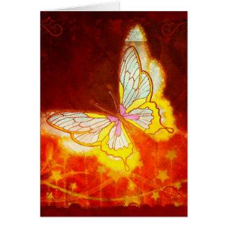 Carte Beau collage de feux d'artifice de papillon
