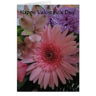 Carte Beau rose et le pourpre fleurit la Saint-Valentin