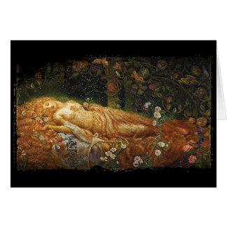 Carte Beauté de sommeil près d'une harpe