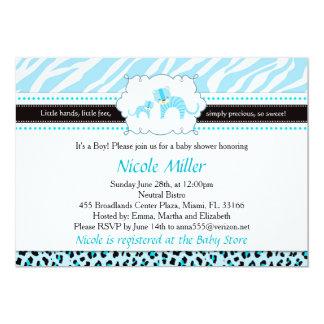 Carte Bébé bleu Showe d'invitation de léopard de guépard