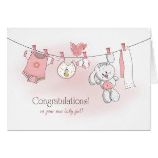 Carte Bébé de félicitations avec le lapin