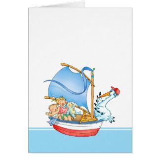 Carte Bébé et grande soeur dans le bateau à voile -