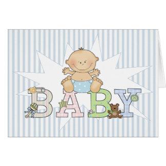 Carte Bébé sur le nouveau bébé de blanc rayé bleu