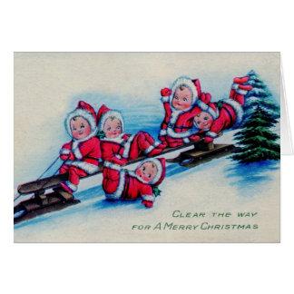 Carte Bébés vintages de Noël