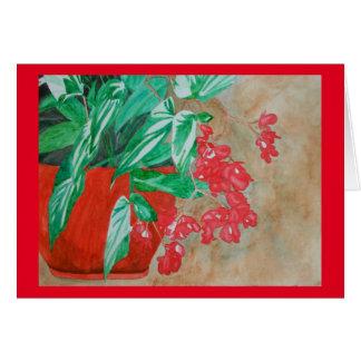 Carte Bégonia rouge d'aquarelle dans le pot