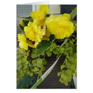 Carte Bégonias jaunes d'aile d'ange, pensant à vous