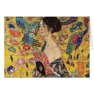 Carte Belle femme avec la fan par Klimt