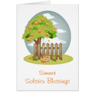 Carte Bénédictions de solstice d'été avec l'arbre