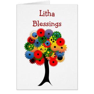Carte Bénédictions de solstice d'été avec l'arbre coloré