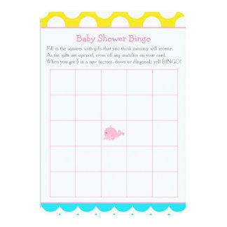 Carte Bingo-test de baby shower de fille de rose de