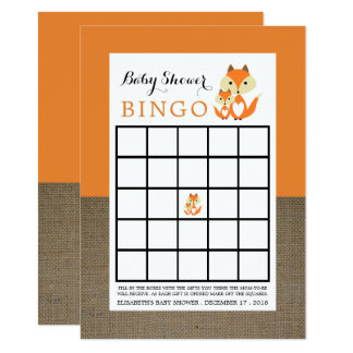 Carte Bingo-test orange de baby shower de toile de jute