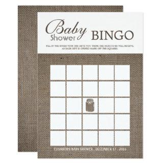 Carte Bingo-test rustique de baby shower de pot de maçon