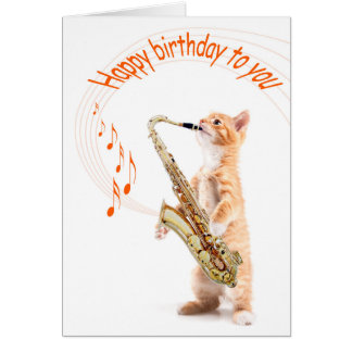 Carte Birhtday card cat with saxophone