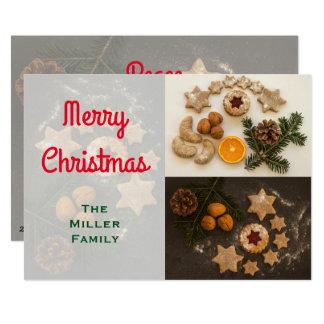 Carte Biscuits de vacances lumineux et Joyeux Noël foncé