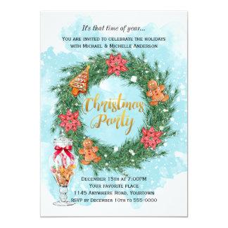 Carte Biscuits et fête de Noël de guirlande de