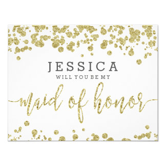 Carte Blanc et confettis d'or vous serez ma domestique