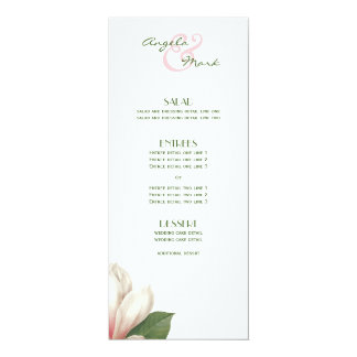 Carte Blanc rose du sud du menu | de fleur de magnolia