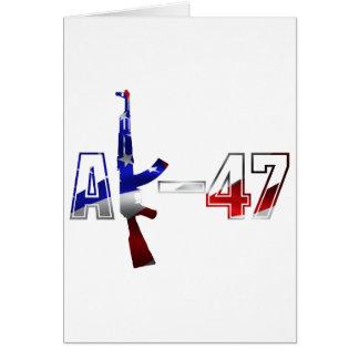 Carte Blanc rouge de logo de fusil d'assaut d'AK-47 AKM