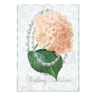 Carte blanche de faire-part de mariage d'hortensia