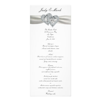 Carte blanche de menu de mariage de coeurs double cartes customisées