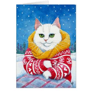 Carte blanche mignonne de Noël ou d'hiver de chat