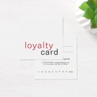 Carte blanche rouge élégante simple de fidélité
