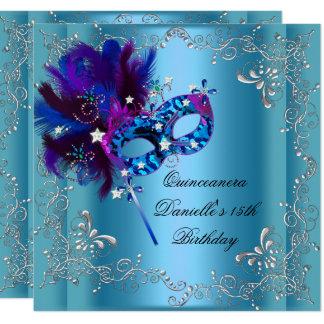 Carte Bleu de mascarade de fête d'anniversaire de