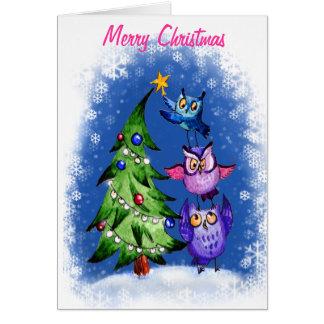 Carte Bleu de Noël du ` s de hibou