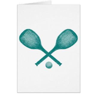 Carte bleu de paon de raquettes de tennis