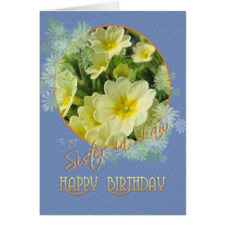 Carte Bleu de primevères de joyeux anniversaire de