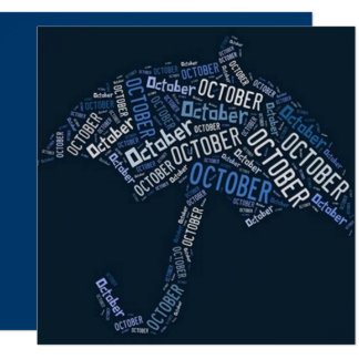 Carte Bleu de typographie de parapluie de pluie