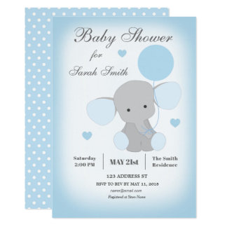 Carte Bleu d'éléphant d'invitation de baby shower de