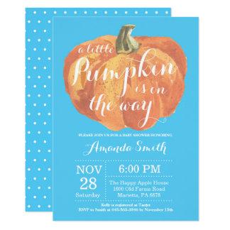 Carte Bleu d'invitation de baby shower d'automne de