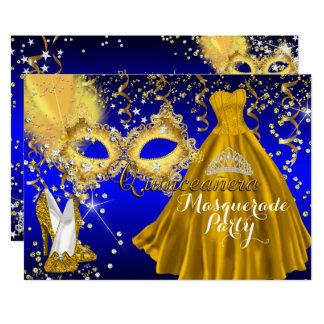 Carte Bleu d'or de Quinceanera de mascarade de diadème