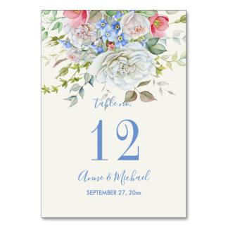 Carte Bleu en ivoire de bouquet de fleur d'aquarelle